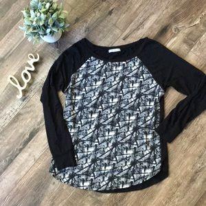 Olivia Moon Raglan Jersey Knit Long Sleeve Top